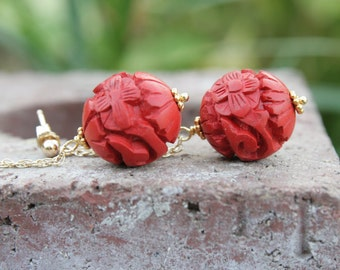 Carved Cinnabar and Gold Filled Chain Earrings