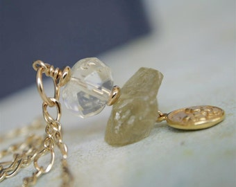 Rough Cut Lemon Quart and Citrine Necklace in Gold Filled