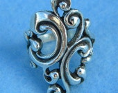 Sterling Silver Large Beautiful Scroll Ring Size 9