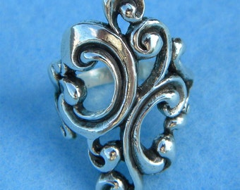 Sterling Silver Large Beautiful Scroll Ring Size 7