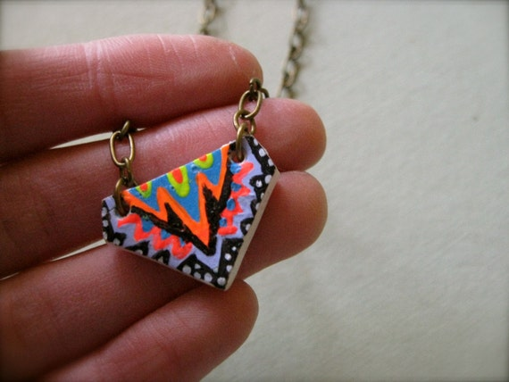 Colorful Hand Painted Pendant on Brass Chain