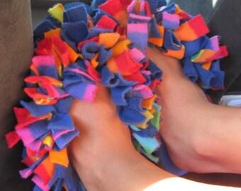 Fun Fuzzy Flip Flops Rainbow Inspired