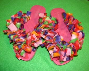 Fun Fuzzy Flip Flops...Bright Sunshine Day
