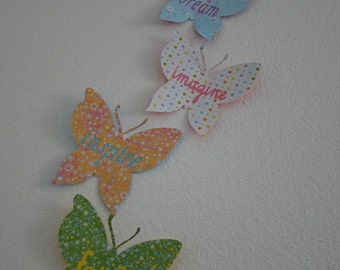3D Wall Butterfly Words - set of 5 you pick the colors
