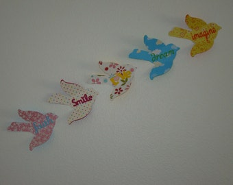 3D Wall Bird Words - Set of 5 You Pick the colors and Words