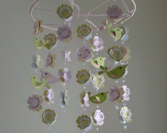 Love Bird Baby Mobile in Pinks and Greens WithOUT the Branch