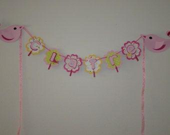Pink Green Yellow Flower Bird Art Photo Banner Name Hanging Room Decor Display