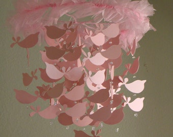 Baby Mobile Pink Shimmer Bird Baby Mobile Available in many colors, shimmer and non shimmer
