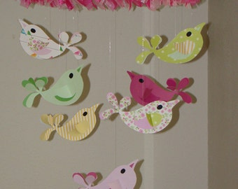 Pinks and Greens Big Birds Baby Mobile with Ribbon Nursery Decor