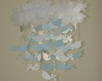 Baby Mobile White and Baby Blue Shimmer Bird Baby Mobile Available in many colors, shimmer and non shimmer