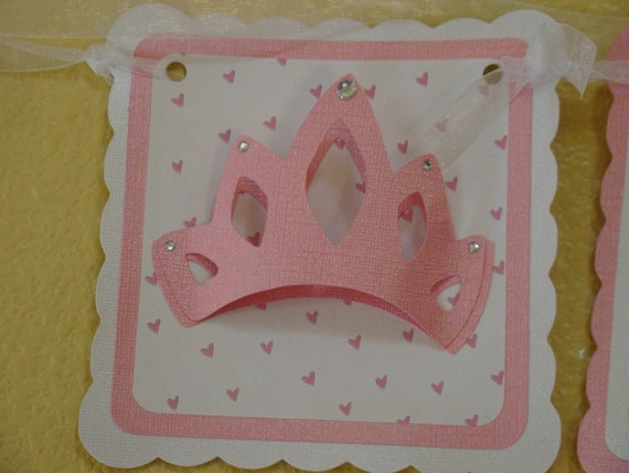 Birthday Banner, Princess Banner,  Happy Birthday Banner, Princess Party, Princess Party Banner, Crown Decor, Crown Party, Pink Birthday