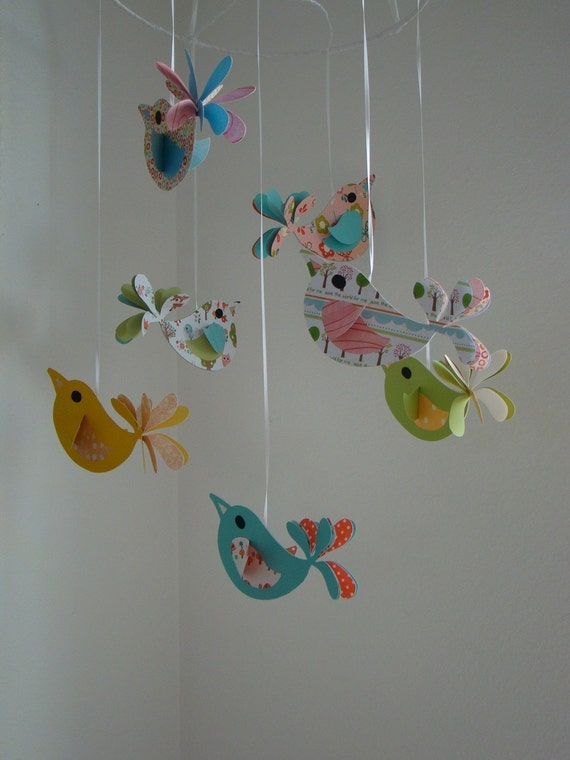 Bird baby mobile pretty birds baby mobile by for Bird mobiles for nursery