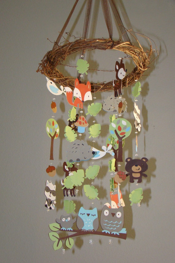 Baby Mobile Deer Fox BabyTribal Mobile Nursery Mobile Nursery Decor Owl Bird Tree Woodland Critter Forest Animal Mobile Animal Cot Mobile