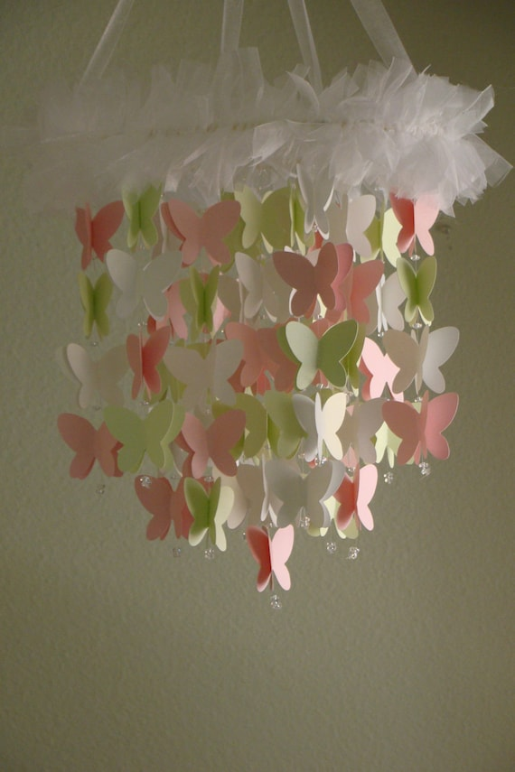 Pink Green White Shimmer Butterfly Baby Mobile Available in many color combos