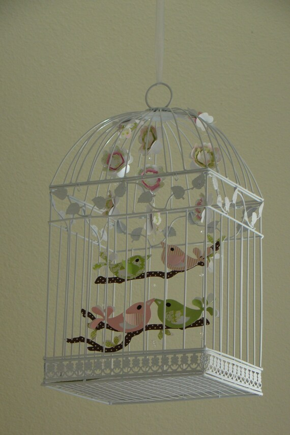 Pinks and Greens Family of 4 Bird Birdcage Mobile
