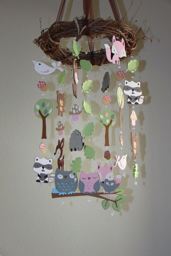Pink And Girly Woodland Critter Forest Animal Baby Mobile