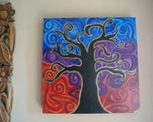 Twirling Tree . Acryclic painting on reclaimed wood. Ready to hang.