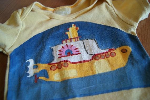 Pre Loved Sale ...  Hand Painted Yellow Submarine Baby Onesie