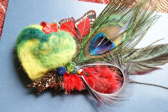 Felted Wool and Feathered Flare . Ooak Hair Clip
