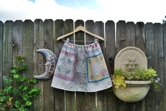 Vintage Hankerchief  and Baby Birds . Patchwork Skirt .