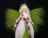 Needle Felted Wool Fairy Doll Angel Spring Blossom Faeries Soft Sculpture Waldorf Inspired