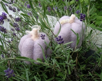 2 SOFT LAVENDER PUMPKINs needle felted wool craft  Waldorf inpired season nature table