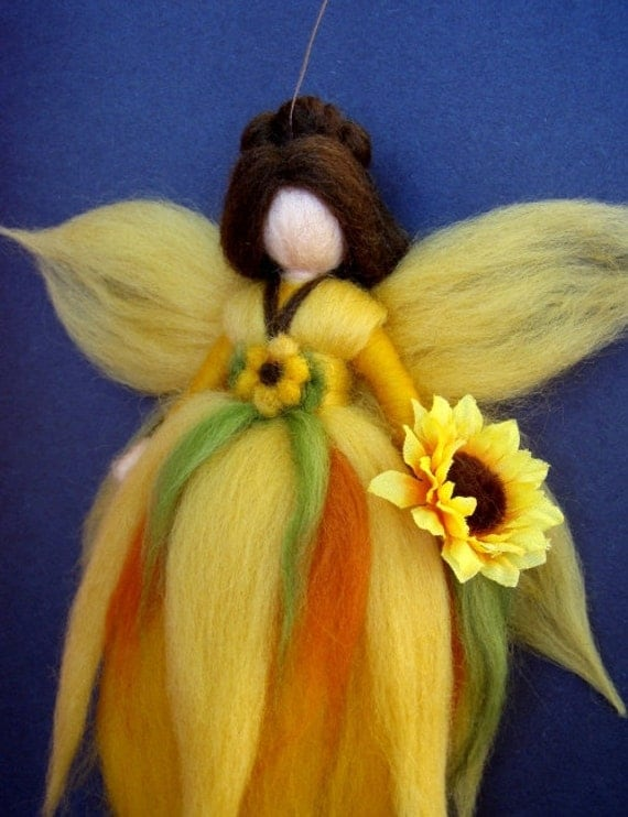 SUNFLOWER FAIRY Needle Felted Wool  Doll Angel Faeries Soft Sculpture Waldorf Inspired
