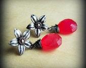 Sale 15% OFF Hot pink earrings / silver earring studs gemstone chalcedony/ flower earrings/ fuchsia/ flower posts/ copper/ mixed metal