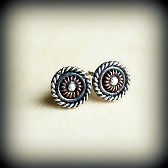 Small stud earrings, round small post, silver and copper, mixed metal metalsmithing, filigree earrings, patina rustic , spring fashion