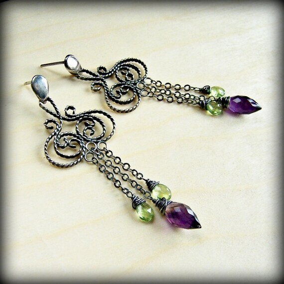 Filigree earrings/ silver earrings/ rustic earrings/ purple green/ amethyst peridot/ oxidised art nouveau/ metalwork earrings/ metalsmith/