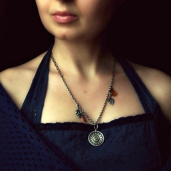 Medallion necklace/ silver necklace/ metalwork necklace/ metalsmith/ yellow orange chalcedony/ necklace leaves/ star/ copper/ old fashioned