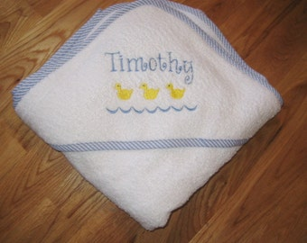 Gingham Trimmed Embroidered Hooded Towel