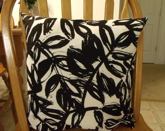 black and white leaf pillow cover