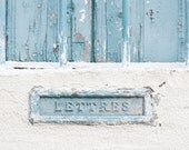 Mail Box Letters Photography print, France 8x8 rustic teal fine art wall poster french home decor still life color monochromatic photography