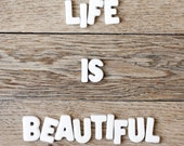 Life is beautiful typography photography print 8x8 positive thinking Inspirational quote Home decor wall poster monochromatic color brown