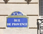 Paris Photography Street Sign - Provence - 8 x 8 - Fine Art Photography print - French Home decor Navy Blue wall art typography sign