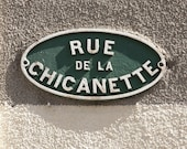 Cute street sign - Rue de la Chicanette - France - 8 x 8 - Fine Art Photography print - French Emerald Green Typography home decor Wall art