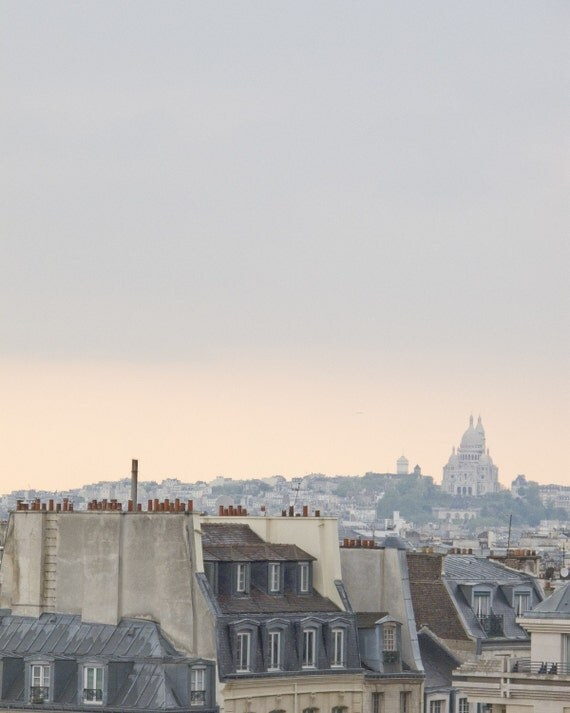 Paris Photography sunset French home decor Fine Art print Grey Pink Wall art city rain Montmartre romantic print skyline rooftops 8x10