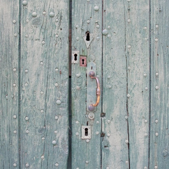 Rustic door photography, Multiple locks Fine art print, Green, French country house home decor, 8x8, Wall art poster, still life photography