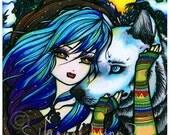 Vampire Wolf Art Print Winter Fantasy Art by Hannah Lynn