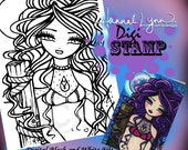 PRINTABLE Digi Stamp Moonlit Mermaid Coloring Page Fun Fantasy Art Hannah Lynn