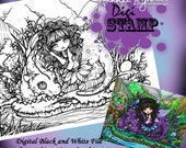 PRINTABLE Fairy Dragon Digi Stamp Coloring Page Fun Fantasy Art Hannah Lynn