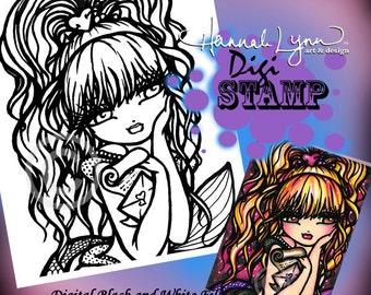 PRINTABLE Digi Stamp Love Letter Mermaid Coloring Page Fun Fantasy Art Hannah Lynn