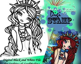 PRINTABLE Lady Liberty Digi Stamp Mermaid Coloring Page Fun Fantasy Art Hannah Lynn