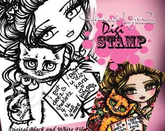 PRINTABLE Cat Mom Digi Stamp Mermaid Coloring Page Fun Fantasy Art Hannah Lynn