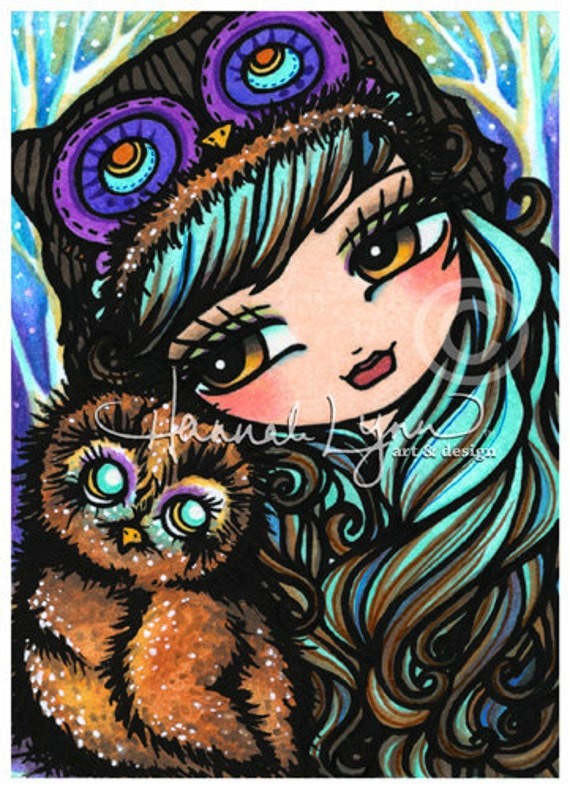 5x7 Owl Fairy Nymph Big Eye Fantasy Art Print Hannah Lynn