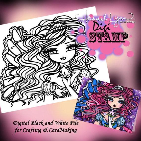PRINTABLE Digi Stamp Mermaid Coloring Page Fun Fantasy Art Hannah Lynn