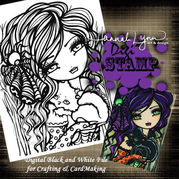 PRINTABLE Vampire Digi Stamp Mermaid Coloring Page Fun Fantasy Art Hannah Lynn