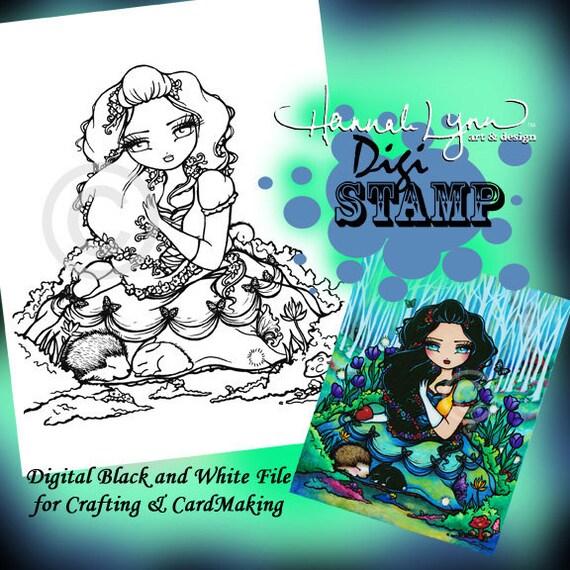 PRINTABLE Snow White Princess Digi Stamp Mermaid Coloring Page Fun Fantasy Art Hannah Lynn