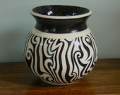 Black & White Hand Painted Artisan Vase - abstract design